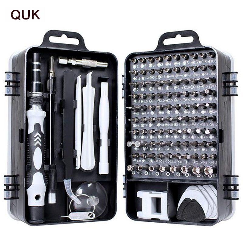QUK Screwdriver Set 115 In 1 Precision Screw Driver Bit Torx Ratchet Magnetic Insulated Bits Multitools Phone Repair Hand Tools(China)