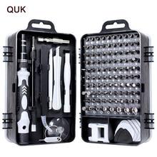 QUK Screwdriver Set 115 In 1 Precision Screw Driver Bit Torx Ratchet Magnetic Insulated Bits Multitools Phone Repair Hand Tools