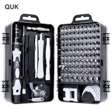 QUK tornavida seti 115 In 1 hassas tornavida Bit Torx cırcır manyetik yalıtımlı uçları Multitools telefonu tamir el aletleri