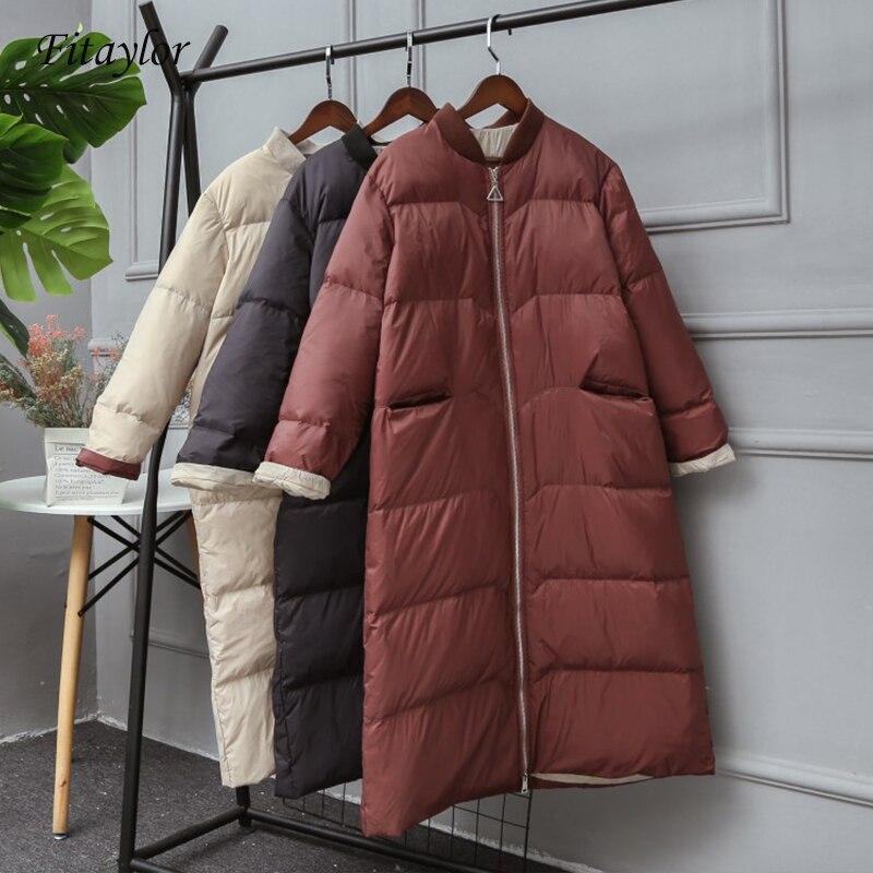 Fitaylor 2019 New Winter White Duck Down Jacket Women Zipper Loose Down Long Coat Parkas Female Warm Snow Outwear