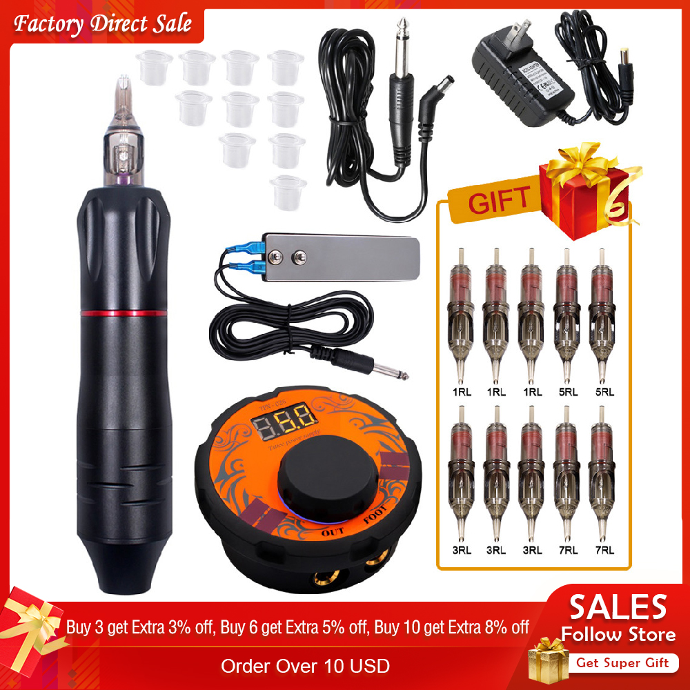 Professional Tattoo Machine Kit Tattoo Power Supply Rotary Pen With Cartridges Needles For Permanent Makeup Eyebrow Microblading