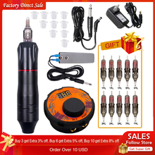 Professional Tattoo Machine Kit Power Supply Rotary Pen With Cartridges Needles For Permanent Makeup Eyebrow Microblading