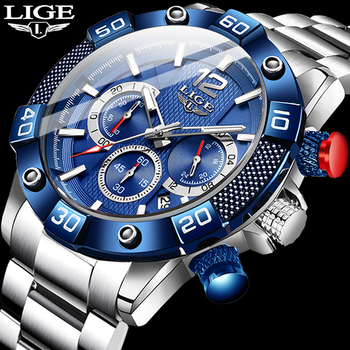 New LIGE Stainless Steel Watches Mens Sports Waterproof Luminous Chronograph Top Brand Luxury Quartz Men Watch Relogio Masculino fashion quartz watch men watches top brand luxury male clock stainless steel watches mens wrist watch hodinky relogio masculino