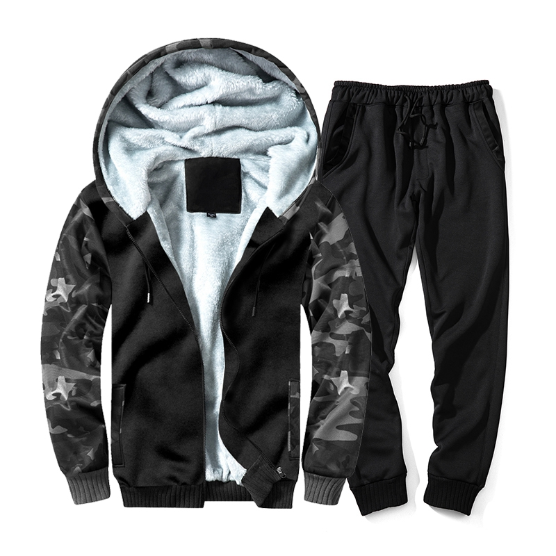 PUIMENTIUA 2019 Winter Men's Camo Set Fleece Hoodies Warm Tracksuit Casual 2PCS Brand Men Clothing Army Military Sports Suit