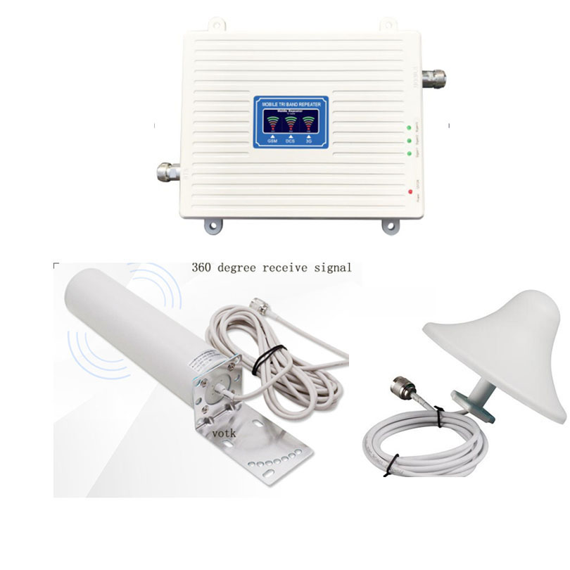 Cell Phone 2G3G4G Signal Booster GSM WCDMA 4G LTE Celluar Amplifier 900 1800 2100 Network Repeater With Omni Outdoor Antenna Set