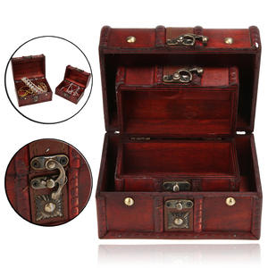 Case Storage-Boxes Treasure Chest Wooden Small Jewelry Vintage 2pcs Home