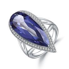 GEMS בלט חדש 11.48Ct הטבעי Iolite כחול מיסטיק קוורץ גדול טיפת מים אצבע טבעת 925 סטרלינג רסיס טבעת לנשים חתונה