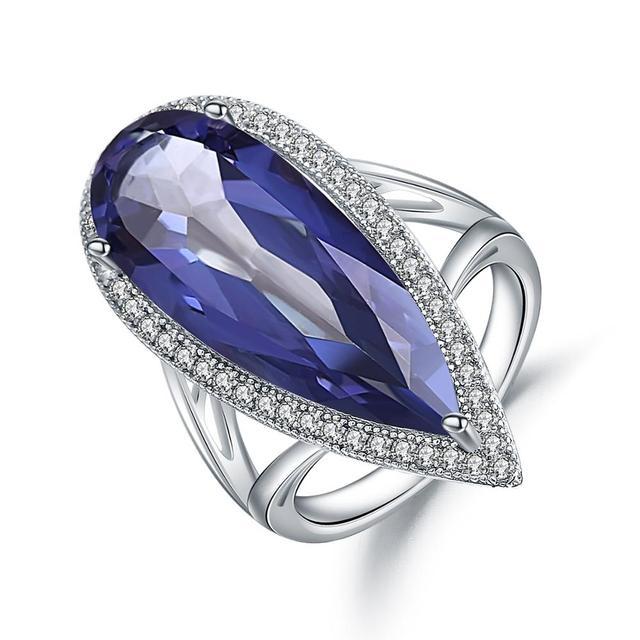 GEMS bale yeni 11.48Ct doğal Iolite mavi mistik kuvars büyük su damlası parmak yüzük 925 ayar gümüş yüzük kadınlar için düğün