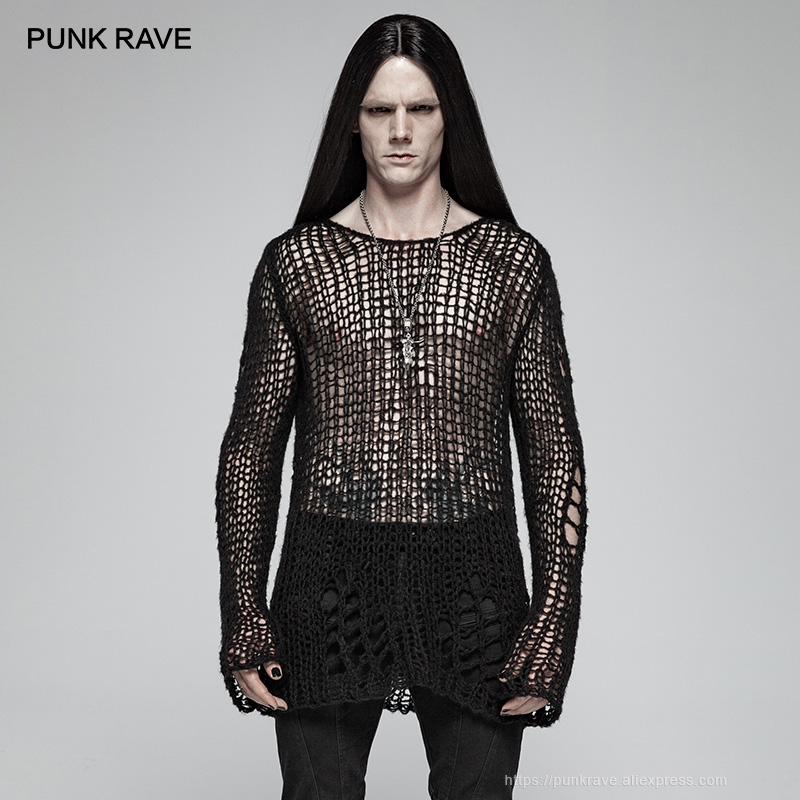 PUNK RAVE Gothic Casual Broken Hole Pullovers Personality Black Loose Men's Sweater Punk Cosplay Dark Visual Kei