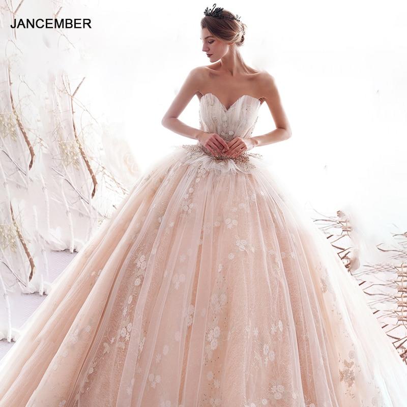 LDR03 Champagne 2021 New Bridal Wedding Dress Shell Elegant Long Trailing Flowers Print Lace Sequins свадебное платье бохо