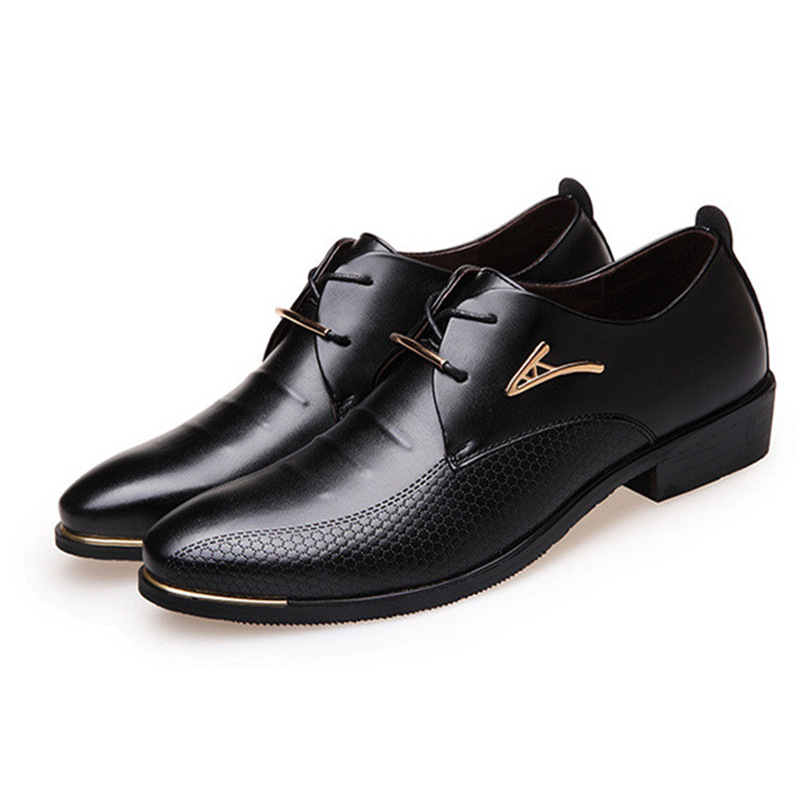 New Oxford Shoes For Men Fashion Leather Shoes Casual Business Office Formal Men Shoes Lace Up Wedding Party Dress Shoes