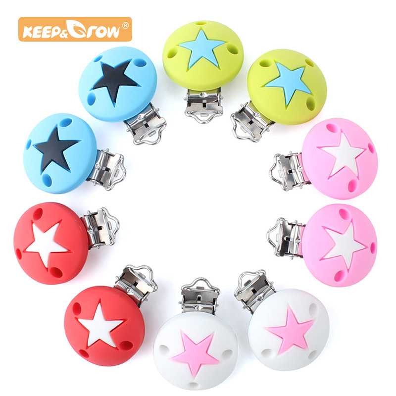 Keep&Grow 1pc Round Silicone Teether Star Metal Clip Pacifier Silicone Rodent DIYAccessories Anti-drop Pacifier Holder