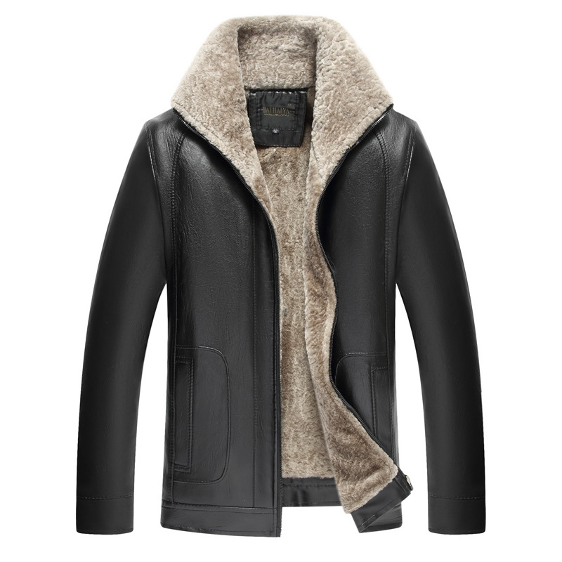 2019 Thick Middle-aged Leather Coat Men'S Wear PU Leather Jacket MEN'S Leather Coat Fur