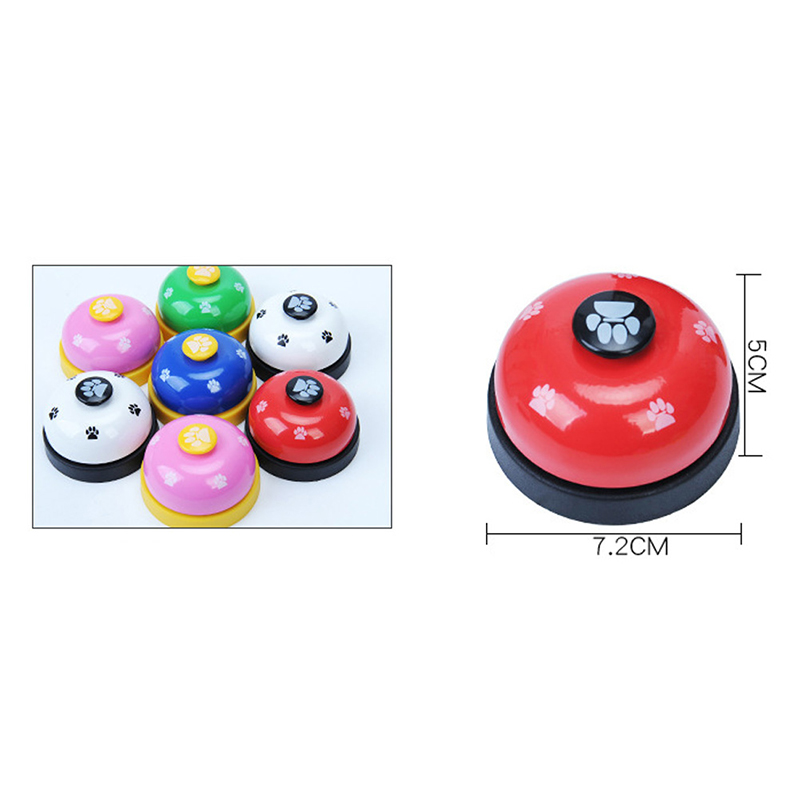 Pet Call Bell Dog Ball-Shape Paws Printed Meal Feeding Educational Toy Puppy Interactive Training Tools Food Feed Reminder-2