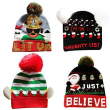 LED Luminous Christmas Hat Knitted Cap Winter Innovative Warm Knit Wool Hats Caps For Kid Adult Holiday Party Gift Men And Women