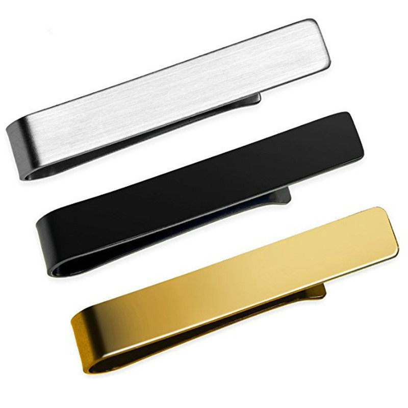 Exquisite Tie Clip Metal Casual Tie Pin Clips Simple Wedding Fashion Jewelry Cufflinks Necktie Tie Pin Bar Gold Black Silver