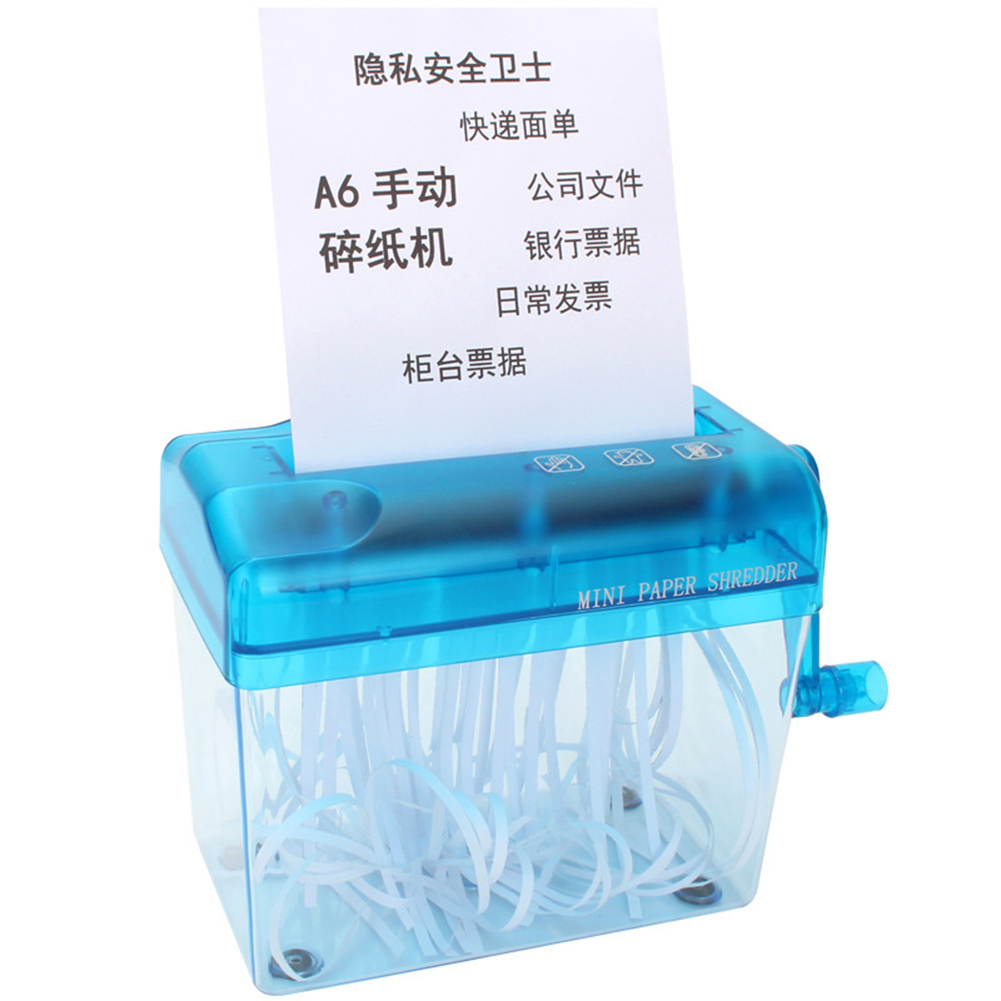 Mini Blue Shredder A6Manual Crusher Destroyers Paper Documents Cutting Machine For Home Office Desktop AS99