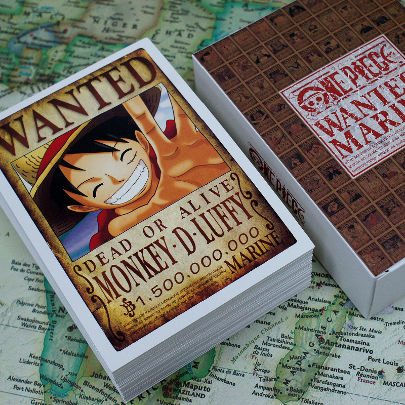 100Sheets/Set Anime One Piece Wanted Marine Postcard Whole Character Series Greeting Cards Message Card Fans Gift