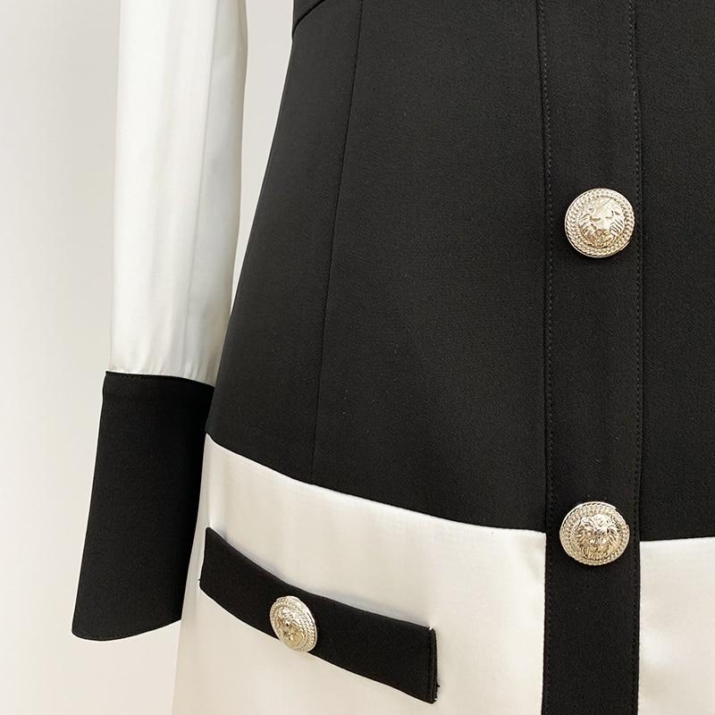 Image 5 - HIGH STREET 2020 Newest Designer Dress Womens Long Sleeve Color  Block Patchwork Shirt Collar Lion Buttons DressDresses