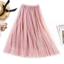 2019 New Spring Autumn Tulle Skirts Women Fashion Sweet Shining Star Mesh Tutu Skirt Pleated Long Midi For