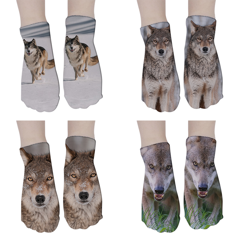 New Fashion Wolf <font><b>Sock</b></font> 3D Printing Women <font><b>Socks</b></font> <font><b>Animal</b></font> Short <font><b>Sock</b></font> <font><b>Unisex</b></font> Female Funny Low Ankle Cartoon <font><b>Socks</b></font> 5ZJQ-DW129 image