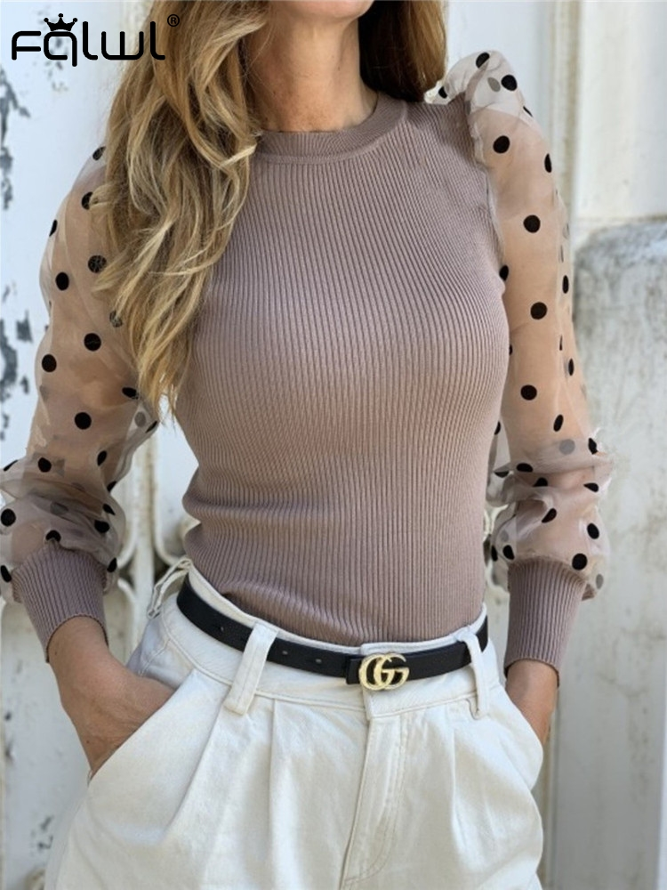FQLWL Casual Ribbed Knitted Sweater Women Polka Dot Mesh Puff Sleeve Sweater Pullover Female Tops Autumn Winter Ladies Jumpers