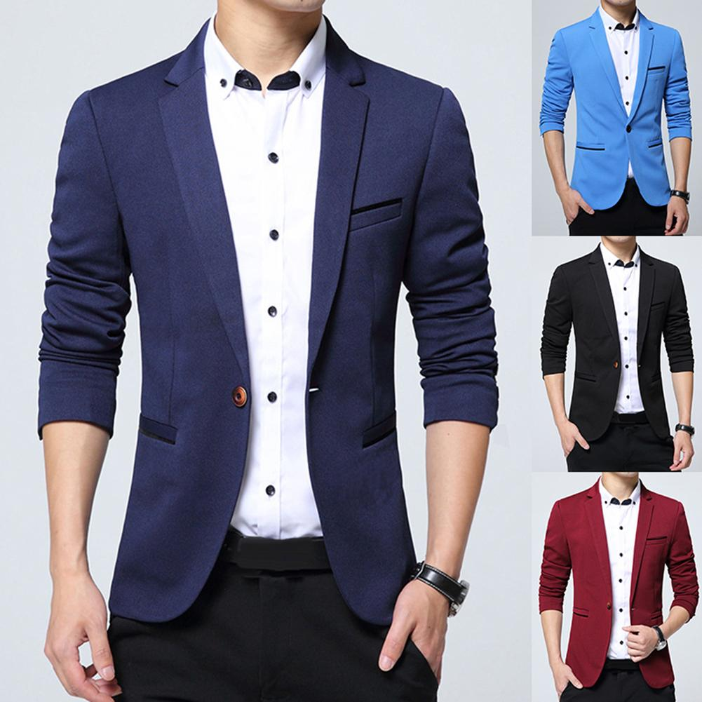 Fashion Men Solid Color Lapel Long Sleeve Button Blazer Coat Outwear 2019 New Hot Sale