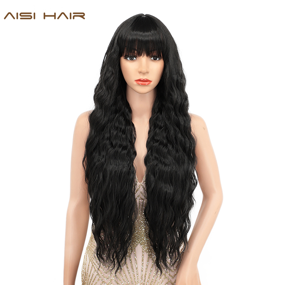 AISI HAIR Long Water Wavy Wig With Bangs Black Synthetic Wigs for Women Blonde/Pink/Purple Natural Wigs Daily Cosplay Party Hair