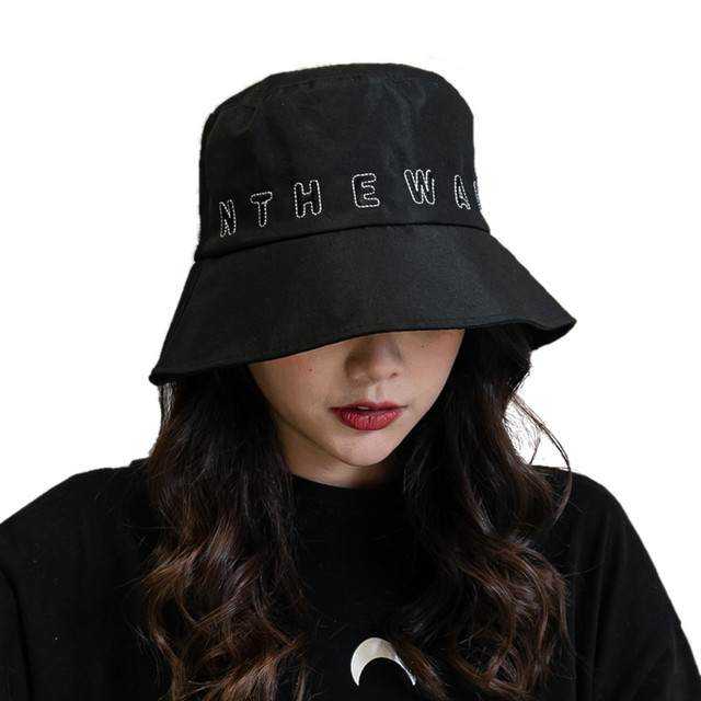 Womail Fisherman Hat Summer Ladies Outdoor Wild Windproof Letter Embroidery Sunshade Fisherman Hat Fashion Beach Sun Visor Cap