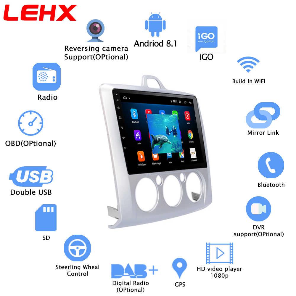 AndroidLEHX 8.1 GPS radia samochodowe samochodowy odtwarzacz multimedialny 2 Din 9 ''Audio odtwarzacz DVD dla ford focus 2 3 Mk2/Mk3 hatchback 2006-2011