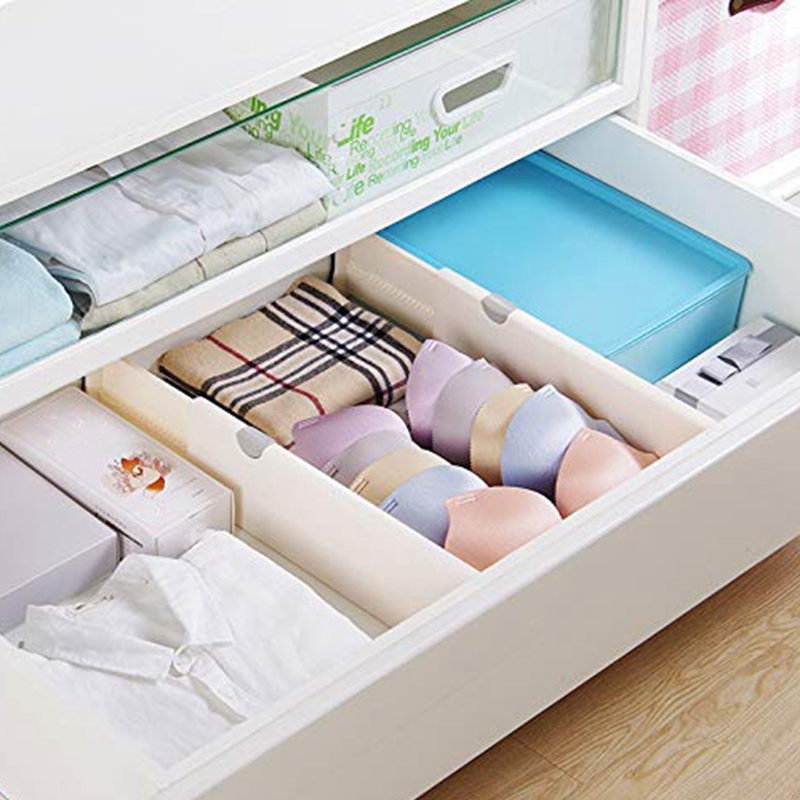 Dresser Drawer Organizers, Expandable Drawer Organizer/Divider - For Bedroom, Bathroom, Closet, Office, Kitchen Storage - 3 Pa
