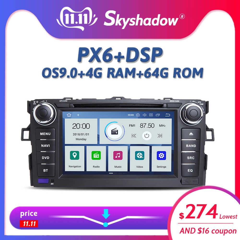 Dsp px6 ips android 9.0 4 gb + 64 gb carro dvd player wifi gps mapa rds rádio dvr tpms bluetooth 4.2 para toyota auris 2007-2010 2011