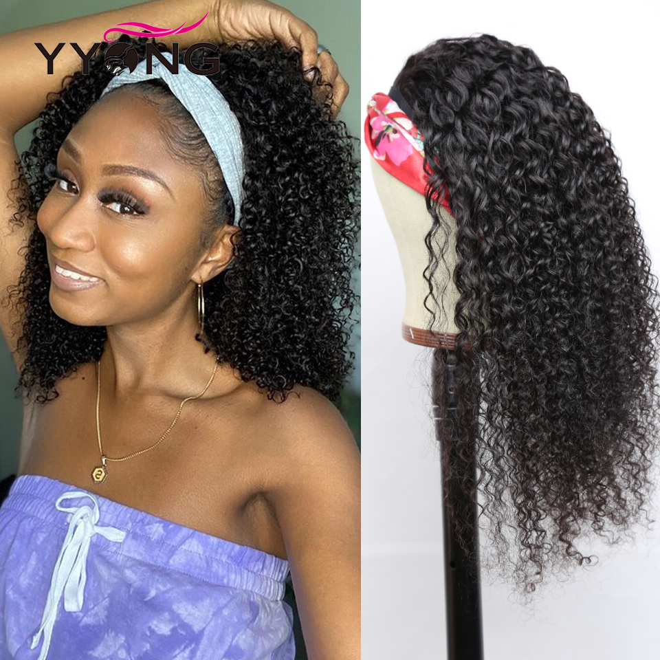 YYong Jerry Curl Headband Wig Natural Color    Headband Wigs With Scarf Glueless Wig for Women 8-24inch 1