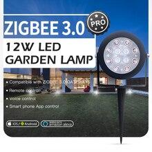 GLEDOPTO Zigbee 3.0 Outdoor LED Garden Lamp Light 12W Pro Waterproof Rating IP65 Compatible With Tuya App 2.4G RF Remote Control