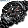 CRRJU новые мужские часы Топ люксовый бренд стильные мужские черные часы Спортивный Хронограф Кварцевые водонепроницаемые наручные часы Relogio...