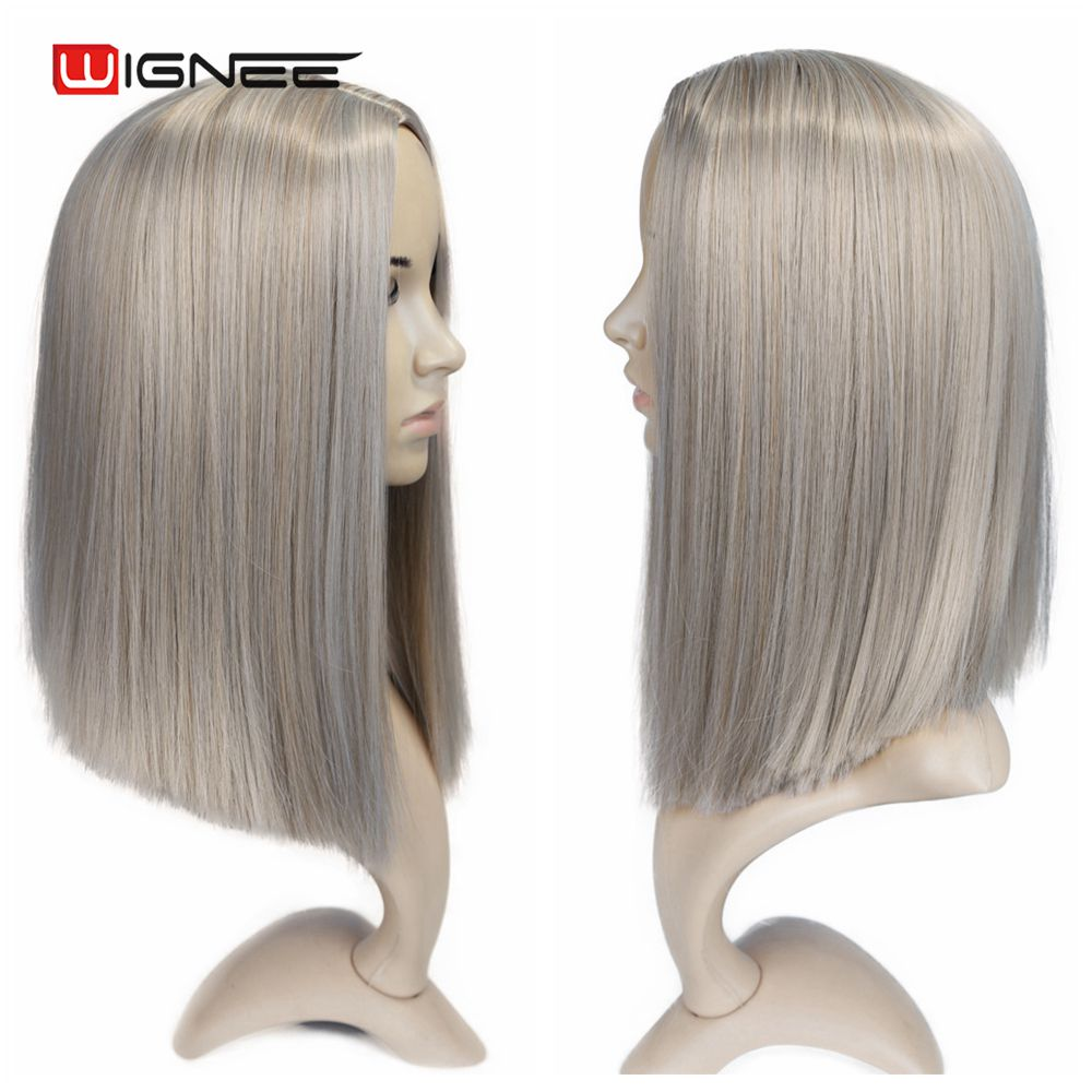 H90aacdeb368f4678895247080bff100cy - Wignee 2 Tone Ombre Brown Ash Blonde Synthetic Wig for Women Middle Part Short Straight Hair High Temperature Cosplay Hair Wigs