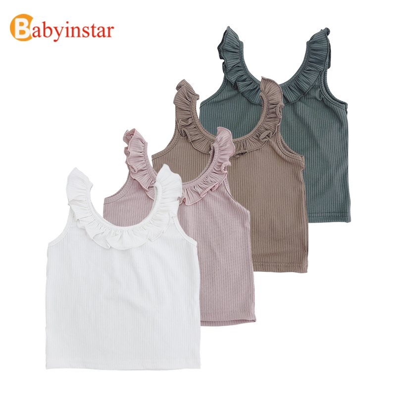 Babyinstar New Summer Fashion Tanks & Camisoles Ruffle Design Vest T-shirts For Girls Toddler Children's Clothing Kids Tops Tees