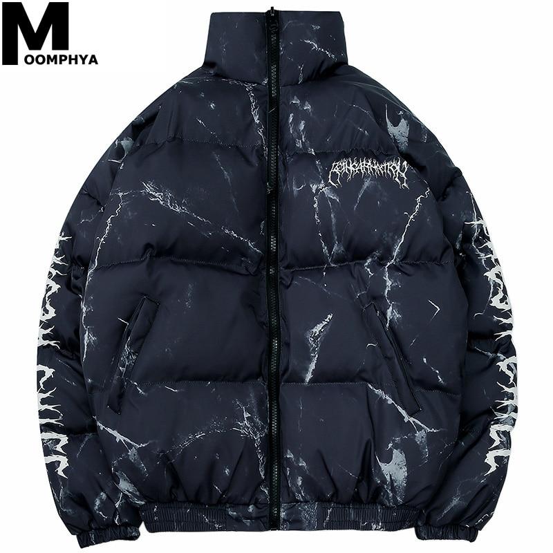 Moomphya Hip Hop Men Jacket Parka Hurt Bear Print Men Winter Windbreaker Streetwear Harajuku Padded Jacket Coat Warm Outwear