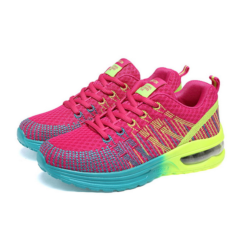 2019 Women Running Shoes Breathable Air Lace Up Sports SneakersWomen Trainers Flat Gym Sports Shoes