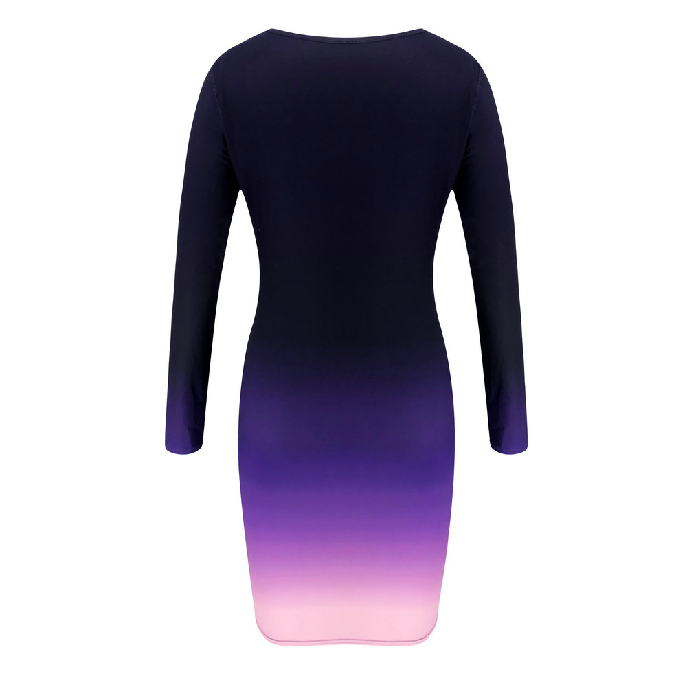 New Long Sleeve  Stretch Bodycon  Gradient Dress 6