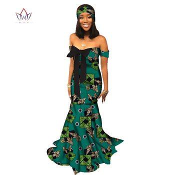 new african dresses for women Fashion Design print women bazin off the shoulder long cotton dress dashiki plus size 6xl WY2206