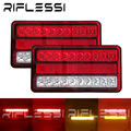 2 x 12V Tractor Tail Lights Truck Reflector Stop Turn Signal For Lorry Rear Brake Lights LED Taillights Trailer Lamp Red Amber