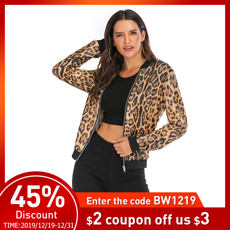 Leopard Gold Stamping Bomber Jacket Women Summer Plus Size Zipper Long Sleeve Coat Female 2019 Short Basic Jackets Ladies Tops