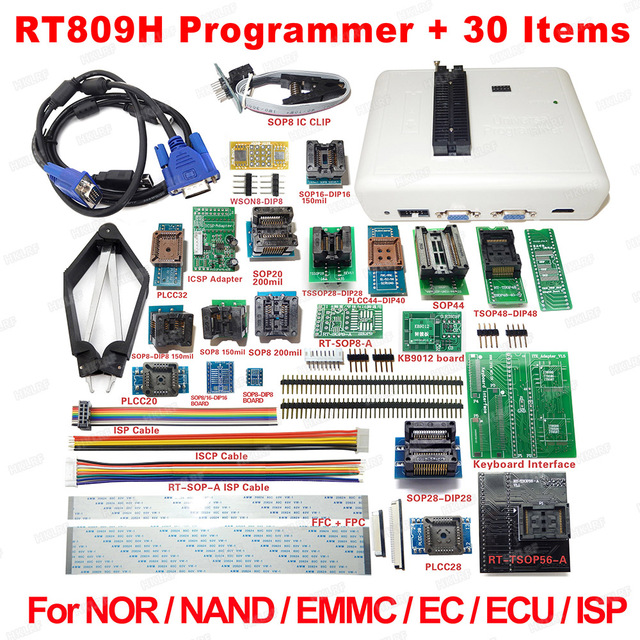 RT809H אוניברסלי EMMC Nand פלאש מתכנת + 30 מתאמים + TSOP48 מתאם + TSOP56 מתאם + SOP8 מבחן קליפ עם CABELS משלוח ספינה
