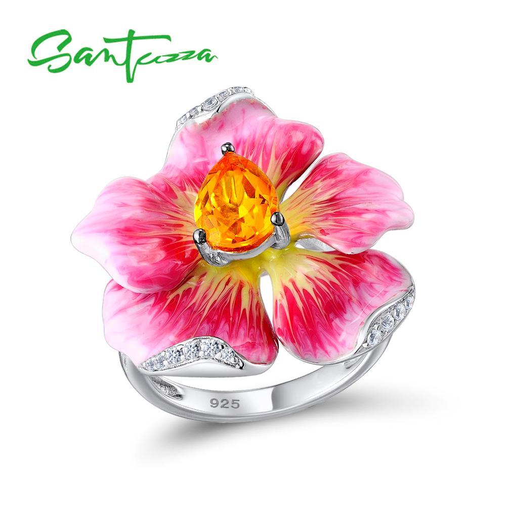 SANTUZZA Women's Ring Pure 925 Sterling Silver Ring Flower Ring Luxury For Women Trendy Party Fine Jewelry HANDMAKE Enamel