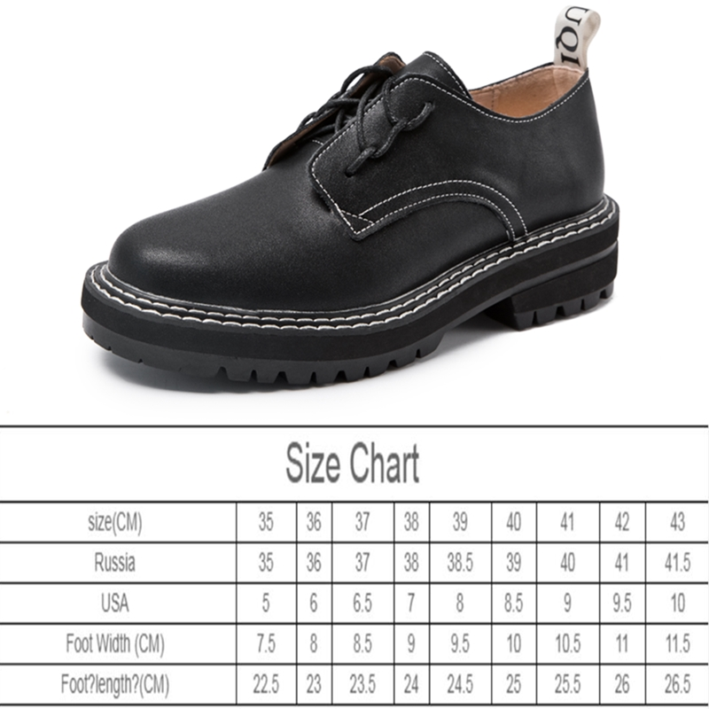 Retro Women Shoes Genuine Leather 2021 New Spring British Style Student Shoes Wild Thick Large Size 41 42 43 Ladies Oxford Shoes