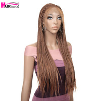 32inch Braided Wig Synthetic Lace Front Wig For Black Women Long Box Braids Lace Wigs With Baby Hair Brown Color Hair Expo City