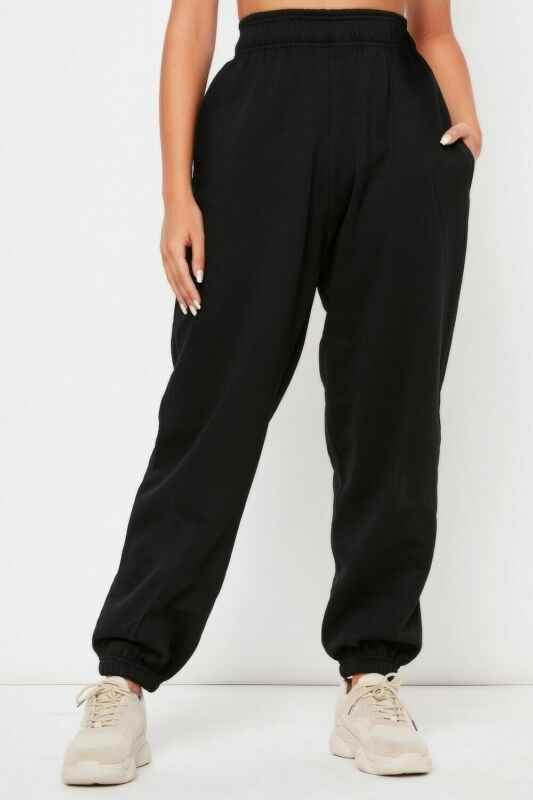 Женские повседневные свободные спортивные штаны с эластичной резинкой на талии, одноцветные спортивные штаны, мешковатые брюки длиной до щиколотки, черные, белые, серые