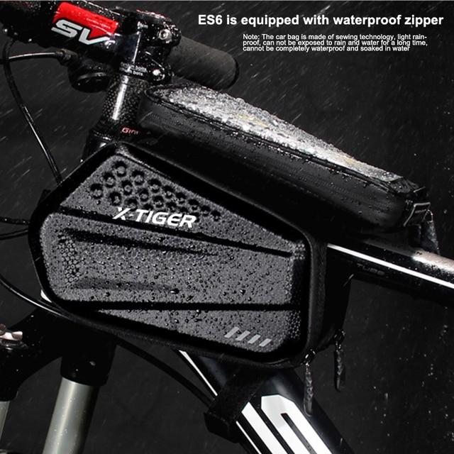 Bolsa de ciclismo a prueba de lluvia X-TIGER, reflectante, a prueba de golpes, para marco de bicicleta, funda frontal para teléfono, accesorios para bolsa de ciclismo de montaña 5