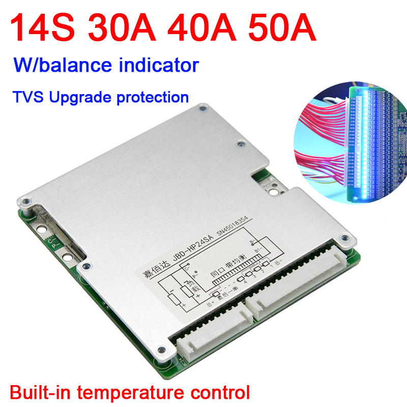 14S 48V 50A 40A 30A Li-ion Lithium Battery Protection Board BMS Batteries Lipo Liion W/ LED Balance Indicator 13S 10S 7S 24V 36V
